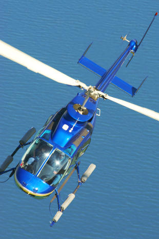 helicopter over water for an aircraft appraisal